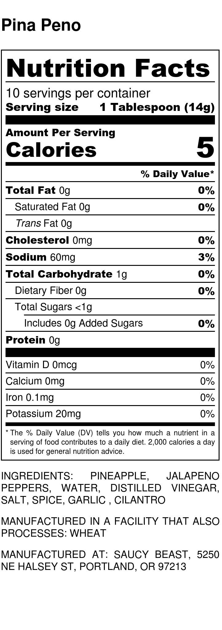 Pina Peno - Nutrition Label